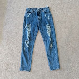 High Waisted Distressed Mom Jeans